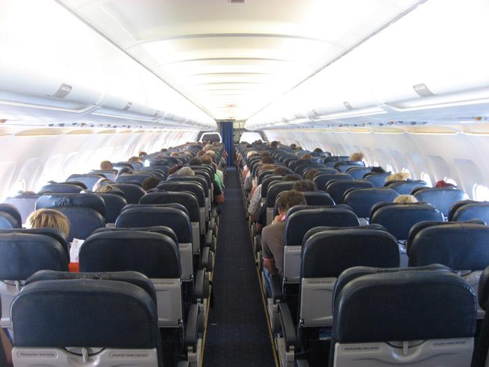 Салон самолета Airbus A320 авиакомпании Авианова