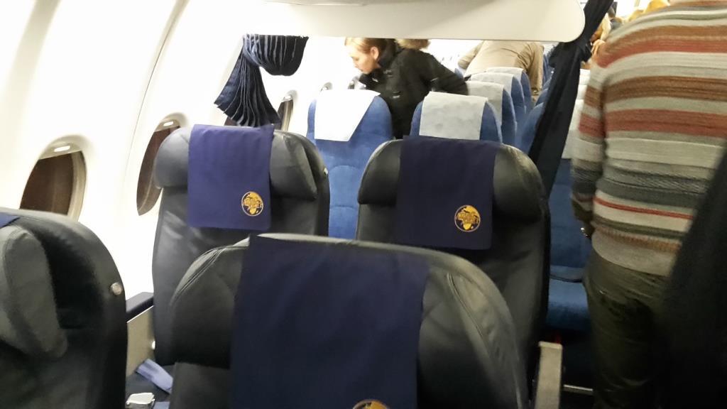Салон самолета Суперджет-100 авиакомпании Центр-Юг