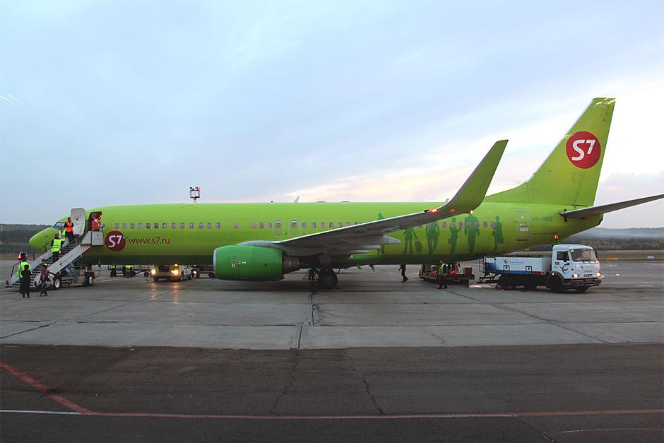 Боинг-737-800 Глобус/S7 Airlines в аэропорту Емельяново