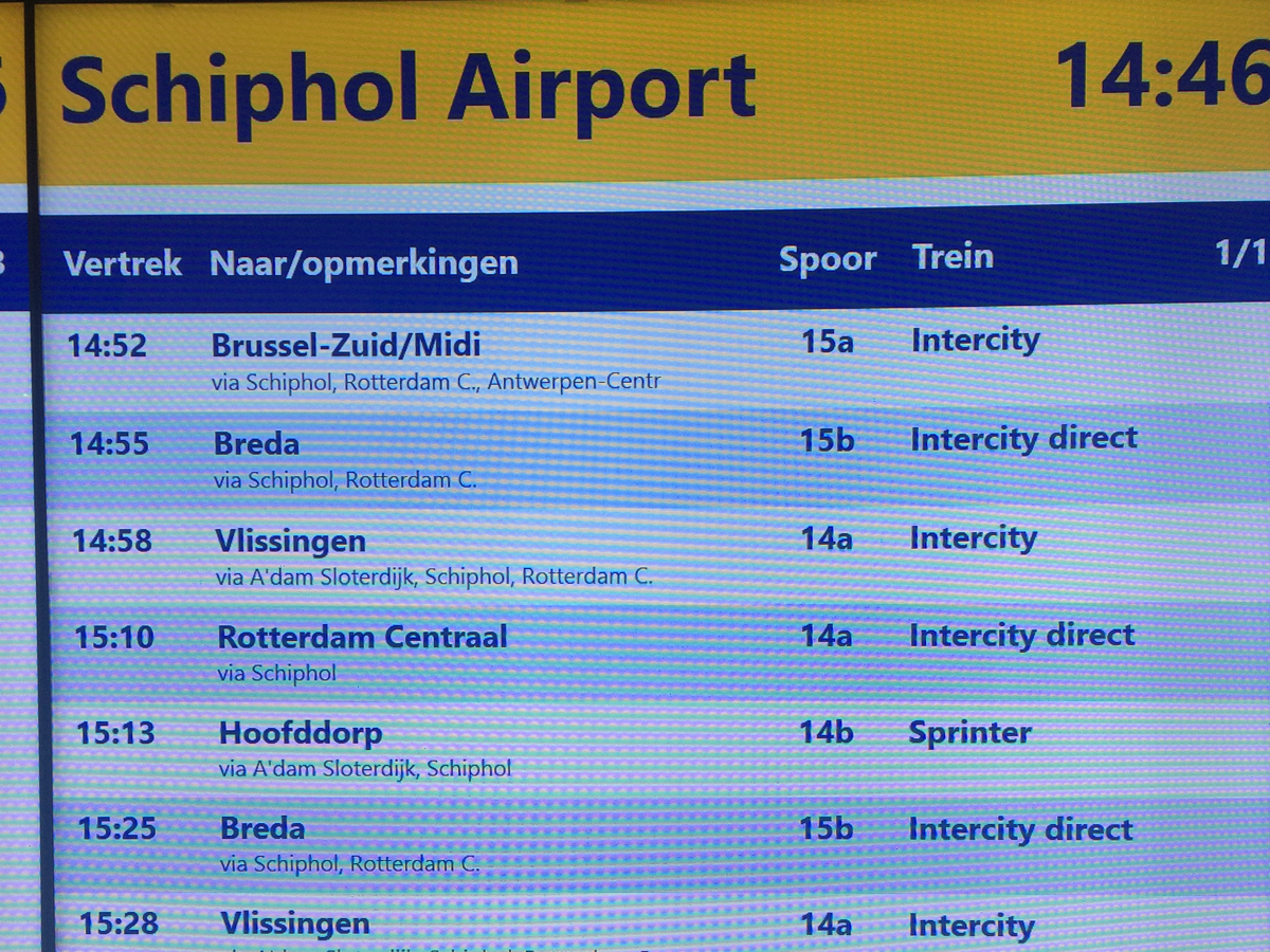 Online табло аэропорта Амстердам Схипхол прилет рейсов