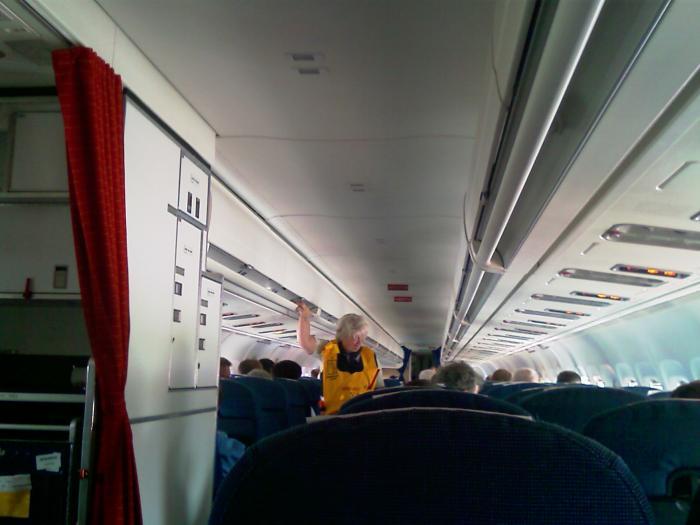 В салоне самолета Дуглас МД-82 авиакомпании SAS