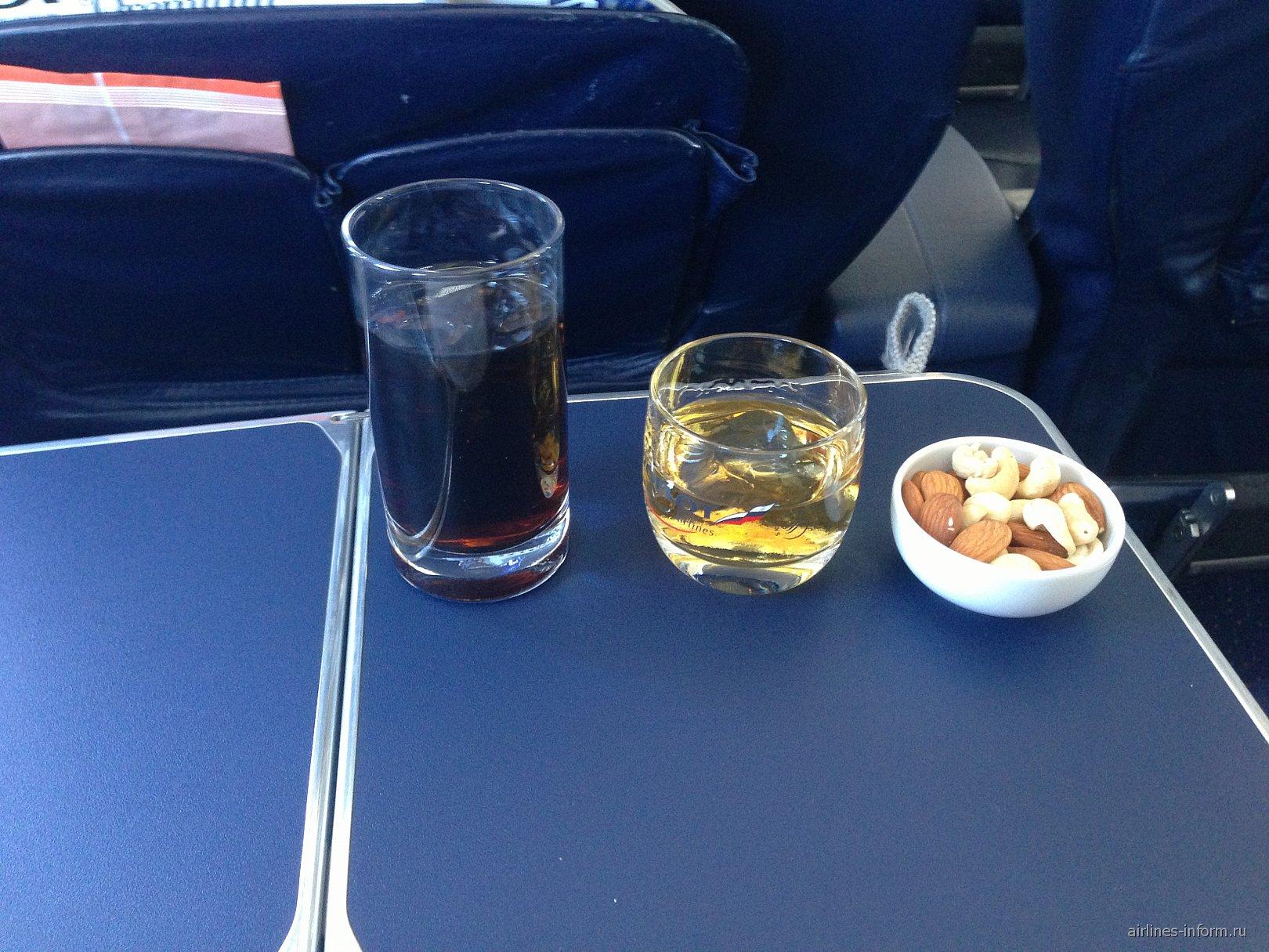 Напитки бизнес-класса на рейсе авиакмпании Аэрофлот Москва-Екатеринбург