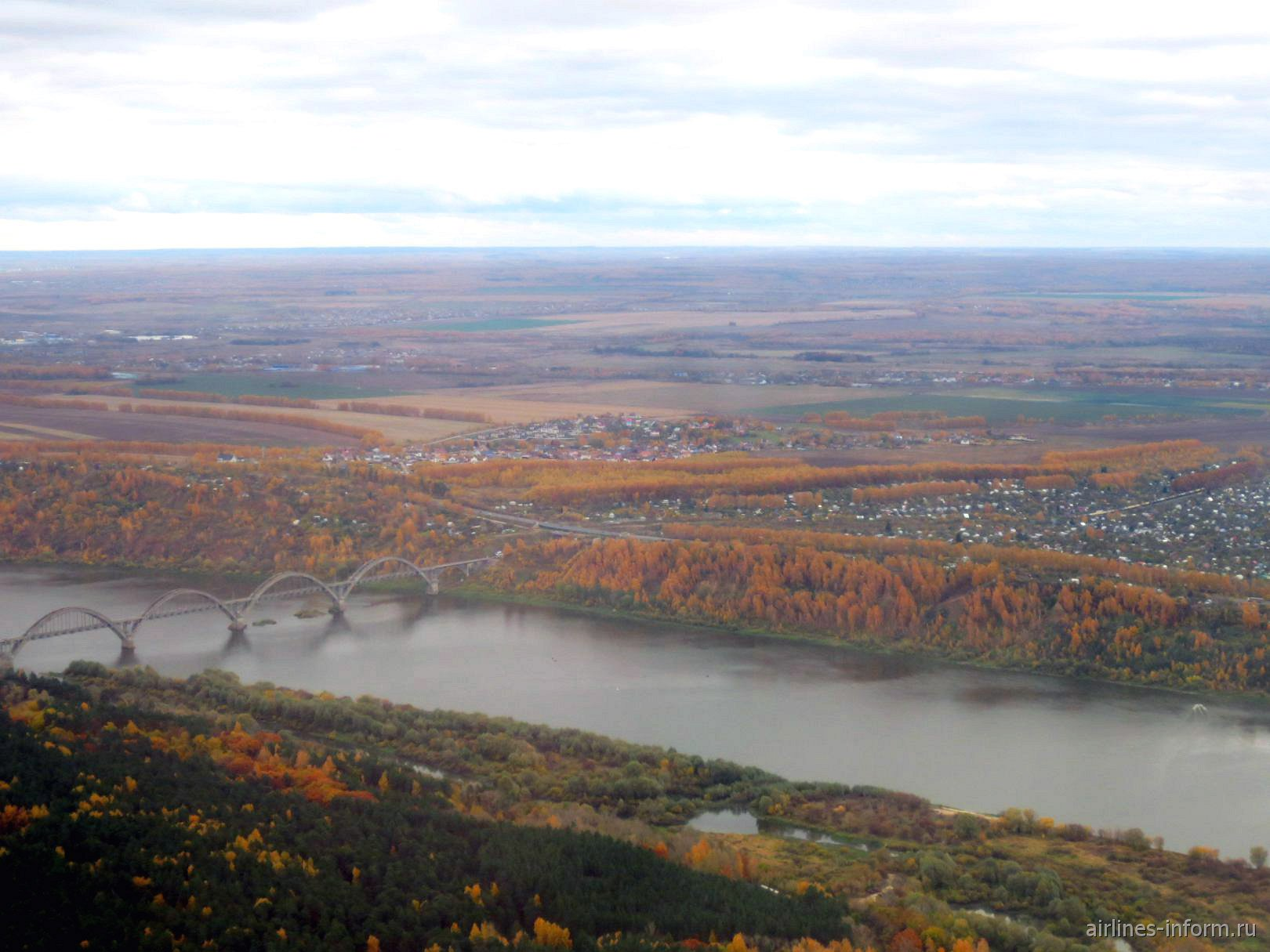 Река Ока при взлете из аэропорта Нижний Новгород Стригино