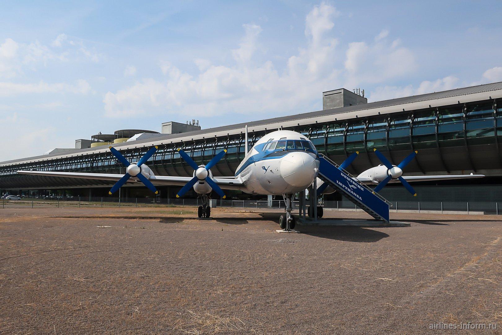 Самолет-музей Ил-18 в аэропорту Лейпциг-Галле