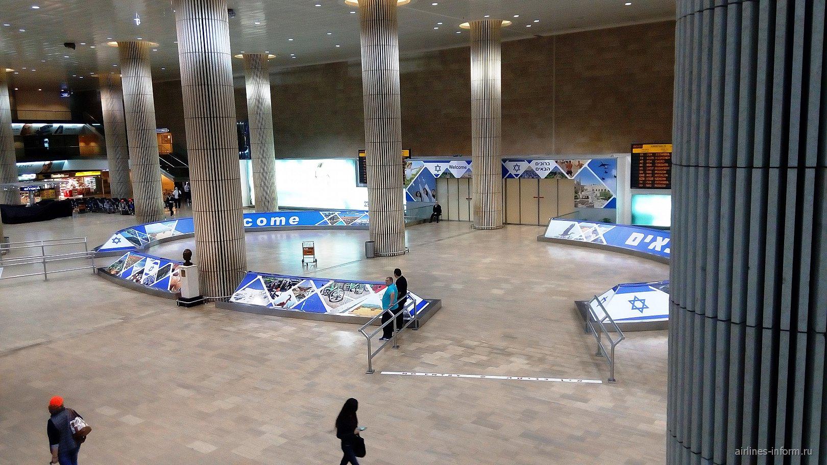 Зал прилета в аэропорту Тель-Авив Бен Гурион