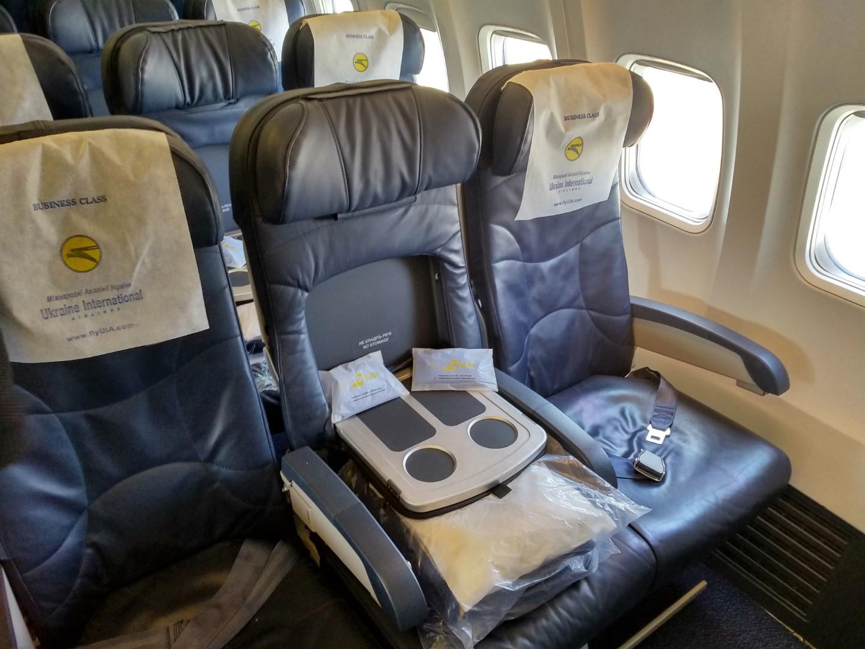 Пассажирские места бизнес-класса в Боинге-737-800 Международных авиалиний Украины