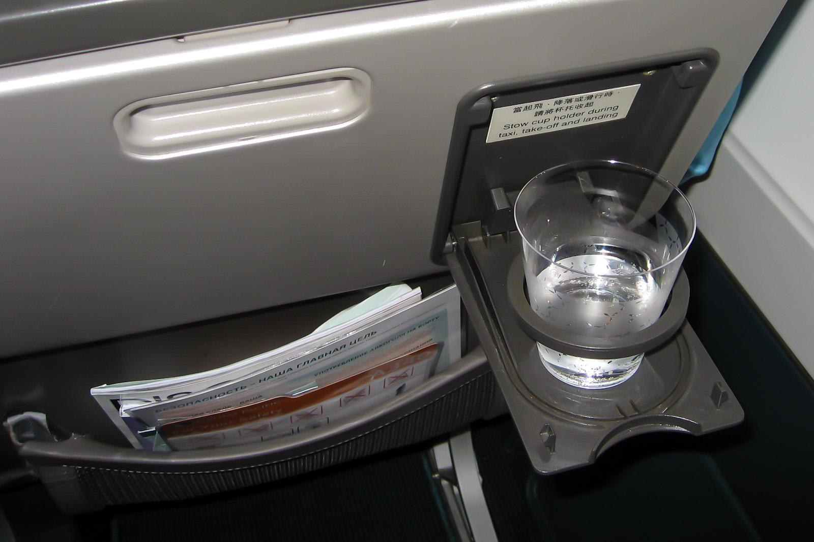 Прохладительные напитки на рейсе Москва-Гонконг авиакомпании Cathay Pacific