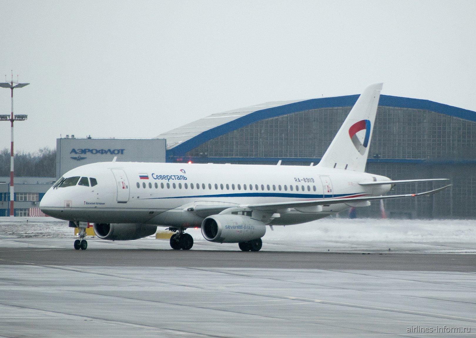 Москва - Череповец, Сухой Суперджет 100, RA-89119, Северсталь