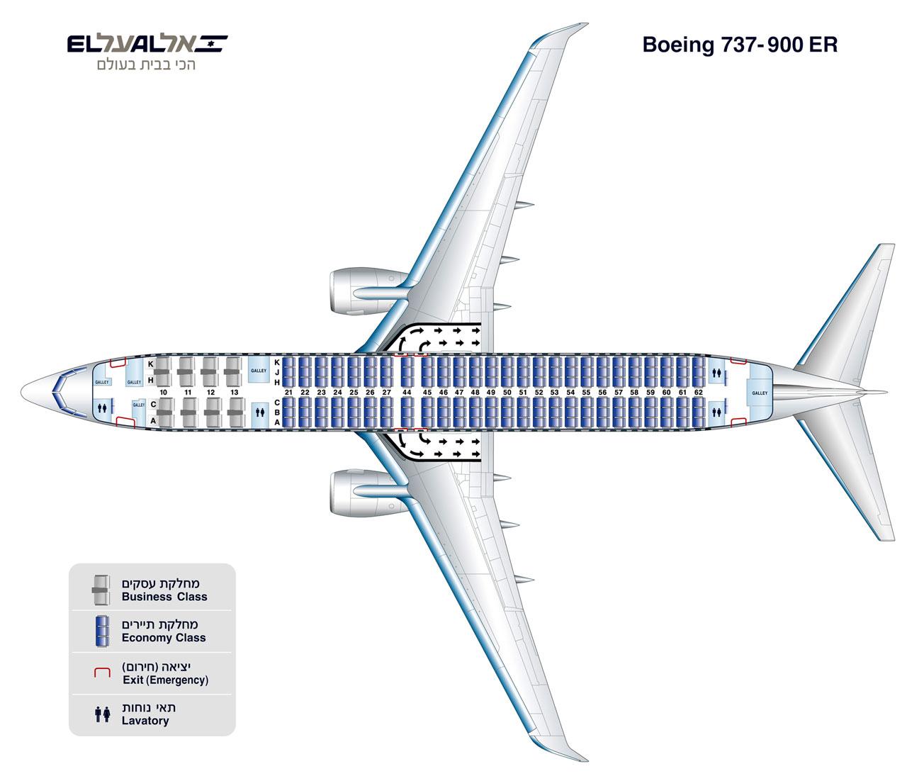 Компоновка салона самолета Боинг-737-900 авиакомпании El Al
