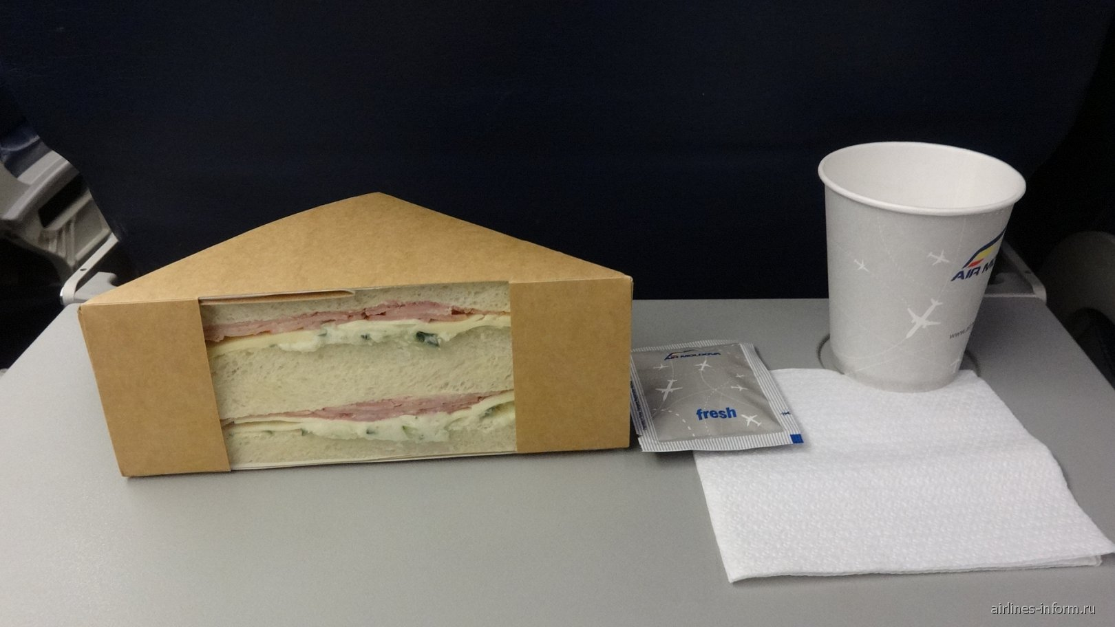 Бортпитание на рейсе Кишинев-Венеция авиакомпании Air Moldova