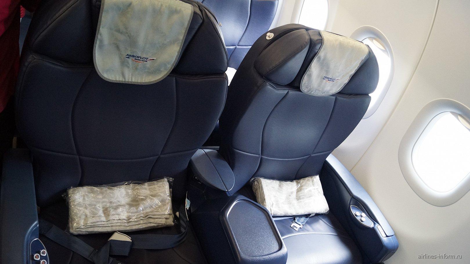 Кресла бизнес-класса в самолете Airbus A320 авиакомпании Аэрофлот
