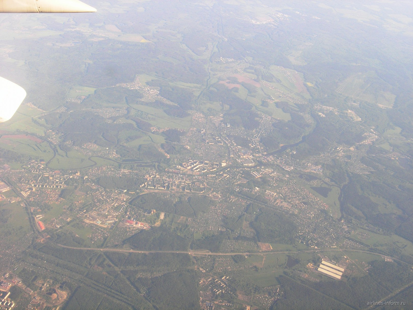 Вид из самолета на город Ногинск