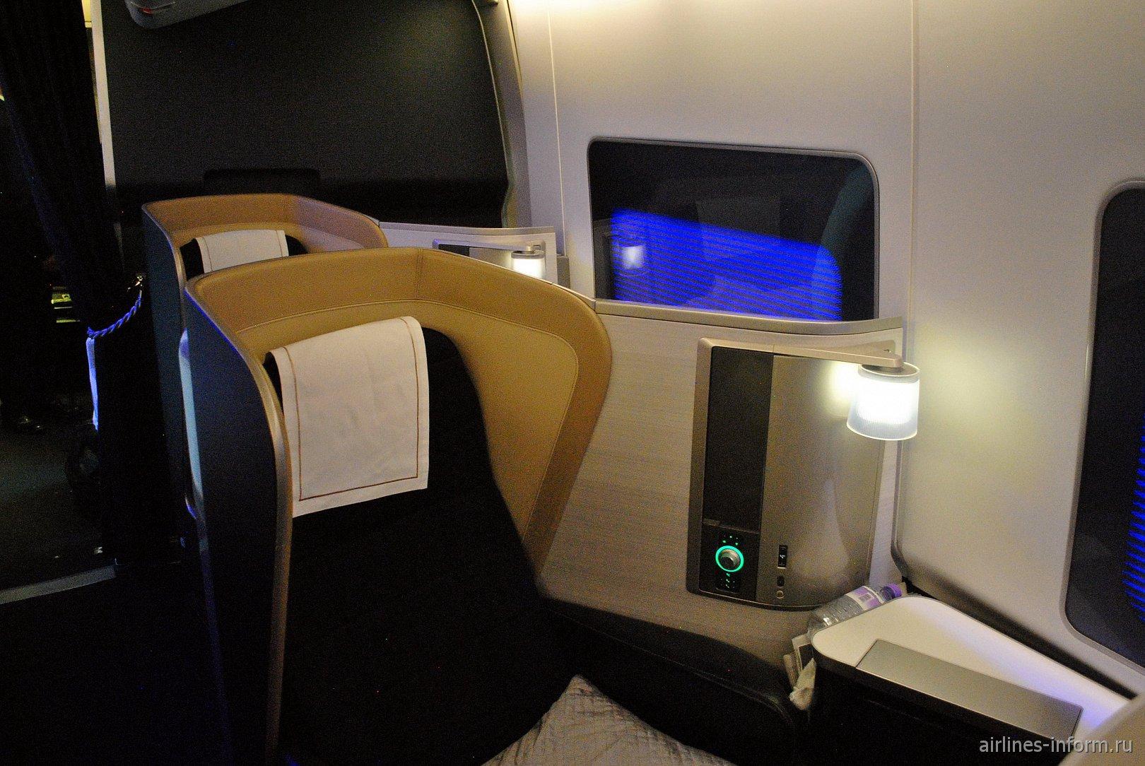 Место пассажира Первого класса в Боинге-747-400 Британских авиалиний