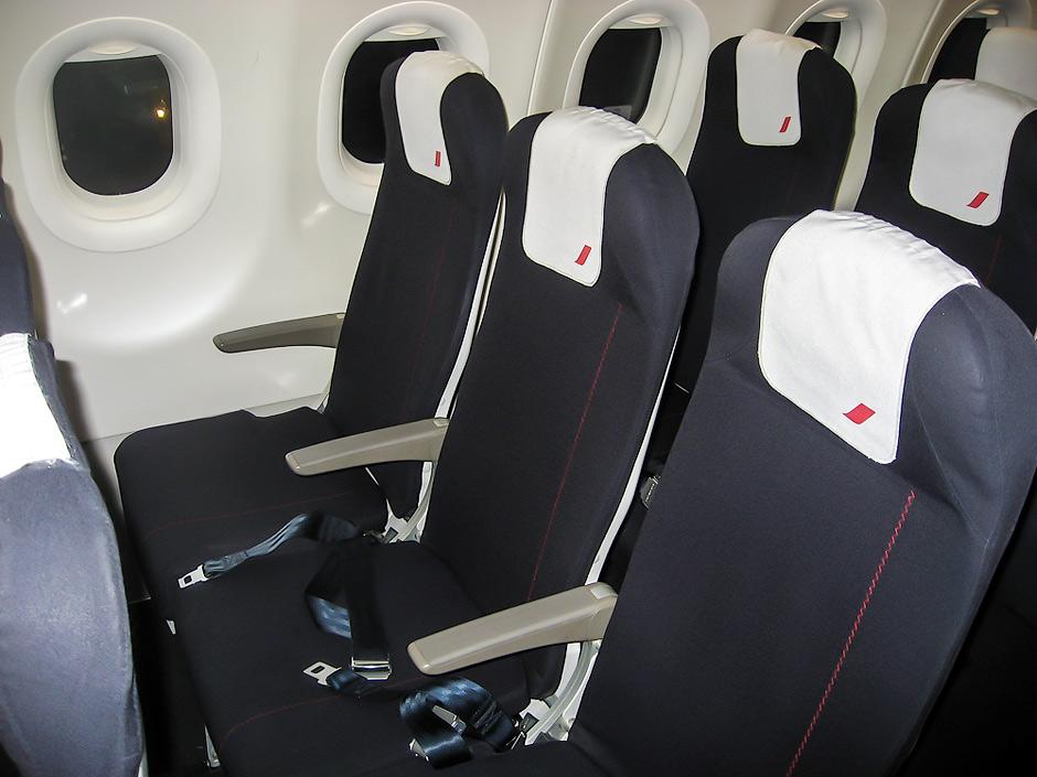 Passenger cabin of an Air France Airbus A320