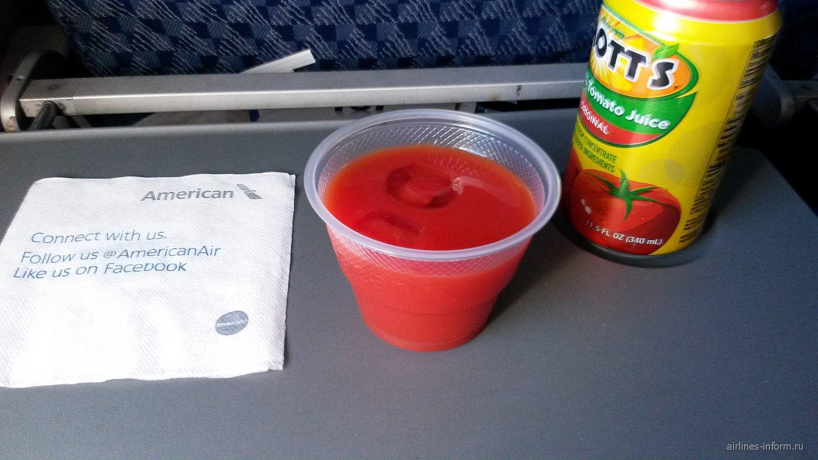 Напитки на рейсе Сен-Мартен - Майами Американских авиалиний