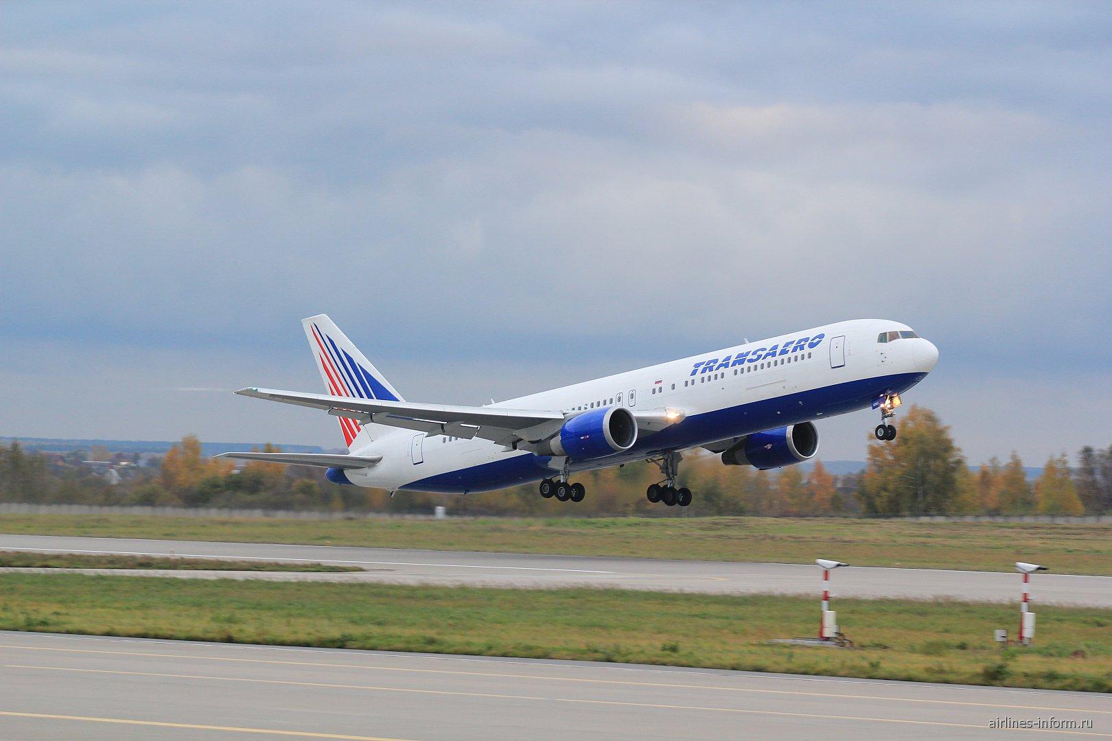 "Взлет самолета Боинг-767-300 авиакомпании ""Трансаэро"""