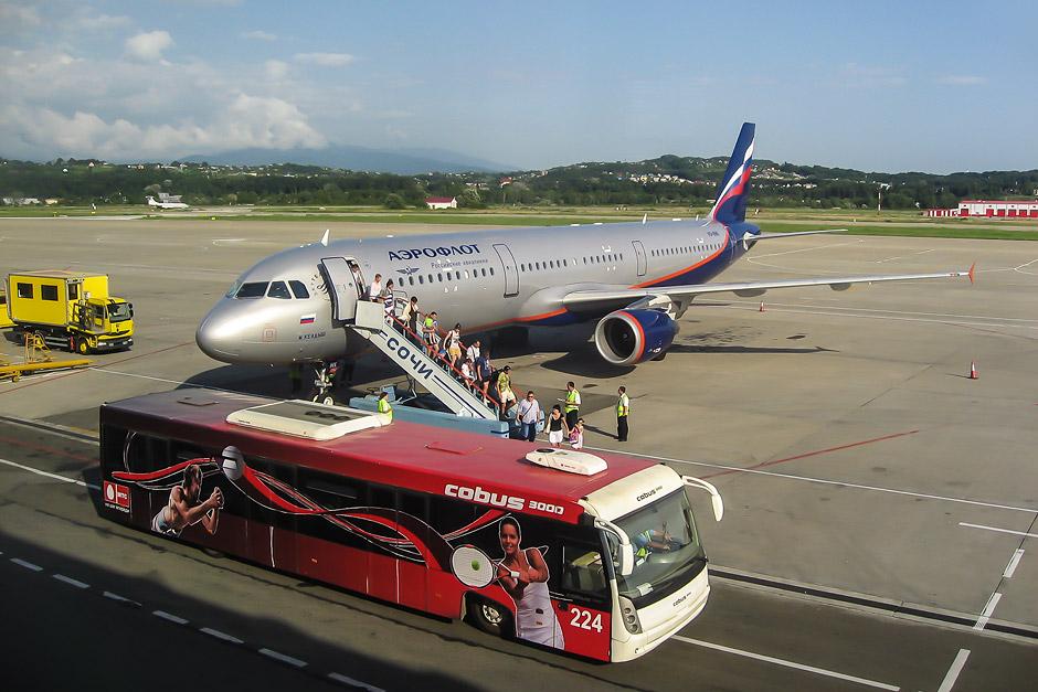 Airbus A321 Аэрофлота в аэропорту Сочи