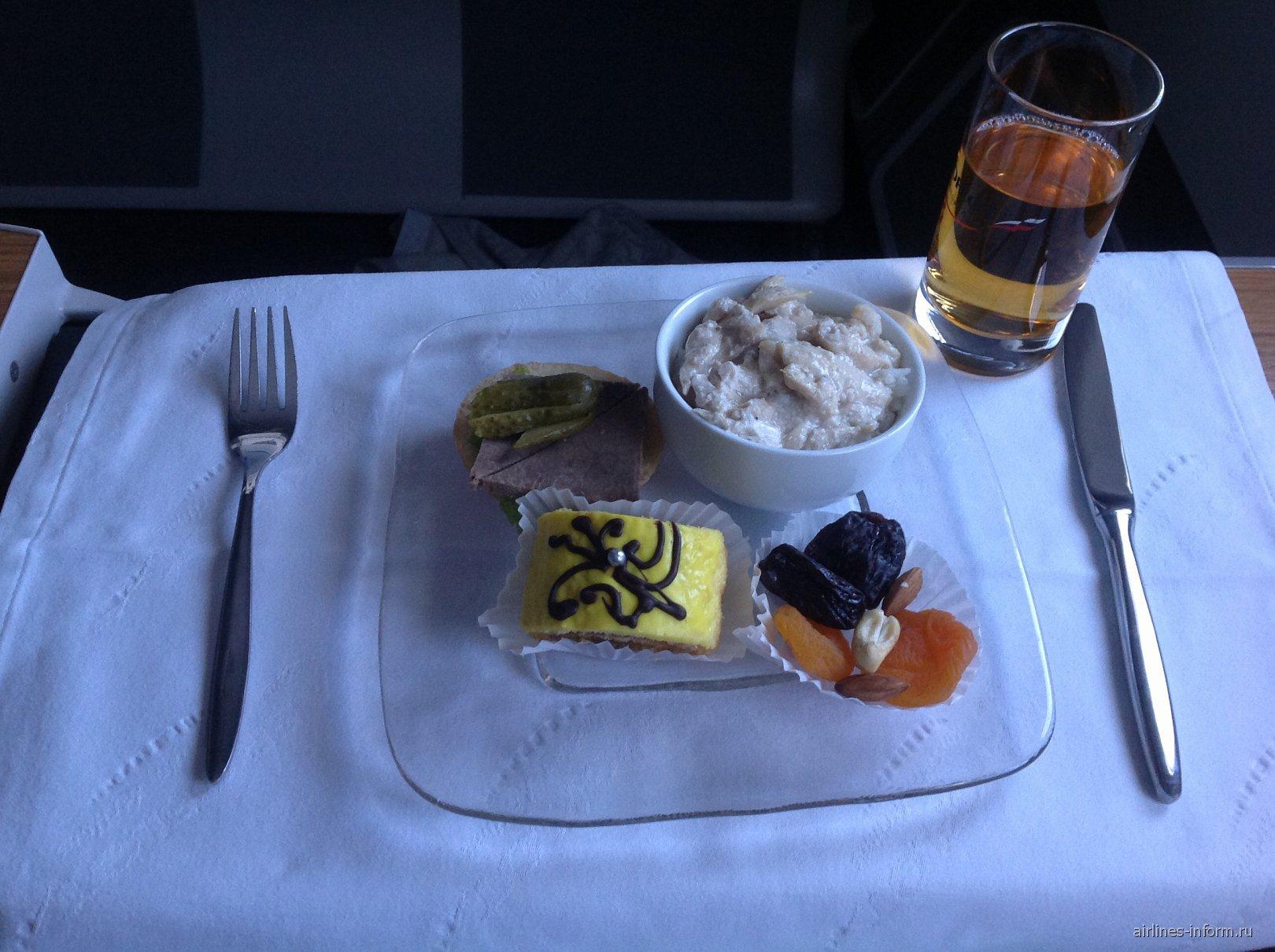 Второе питание бизнес-класса на рейсе Аэрофлота Хабаровск-Москва