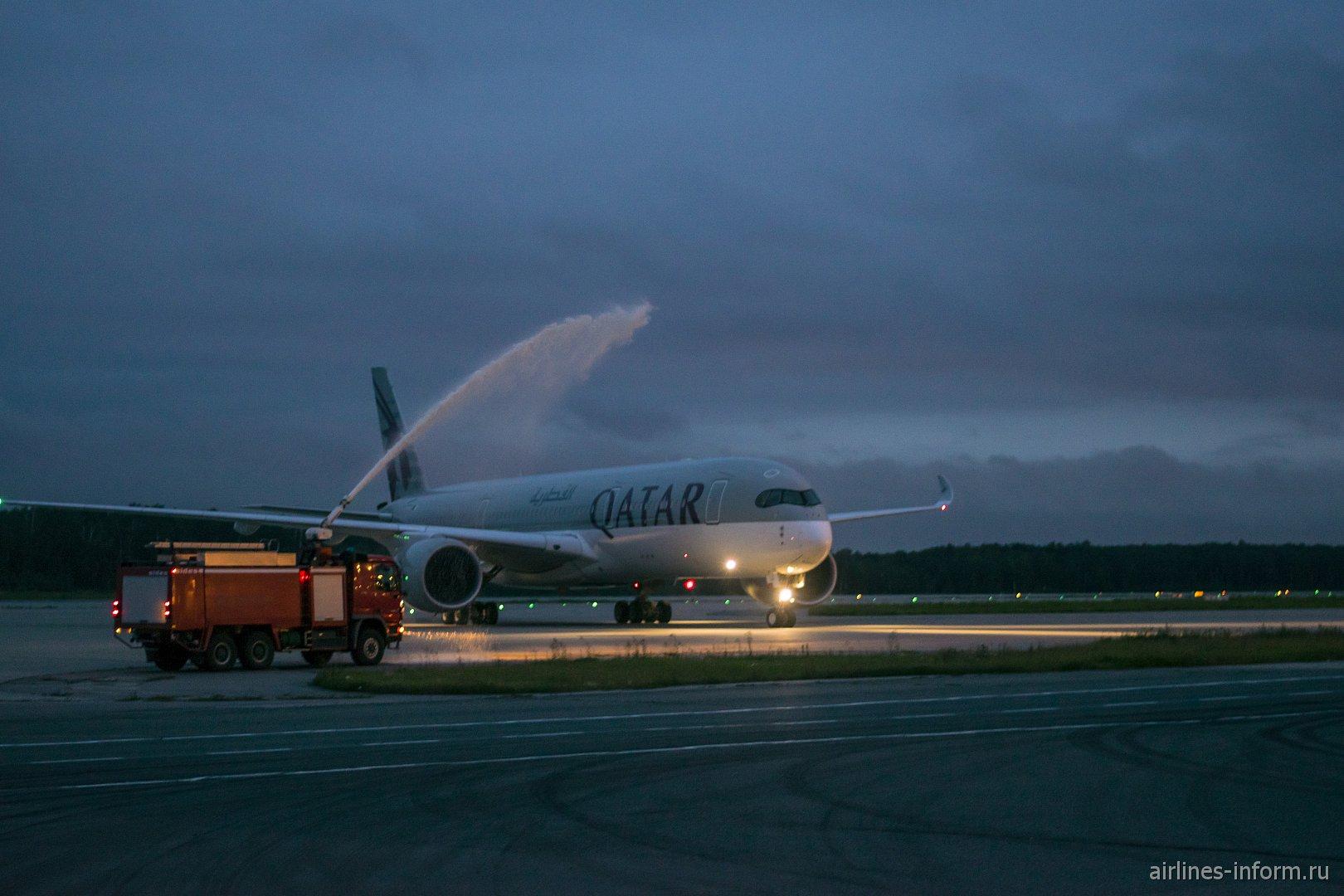 """""""DME и Qatar Airways - 15 лет вместе"""". Обзор споттинга, посвященный первому прилету А350 Qatar Airways в Москву"""