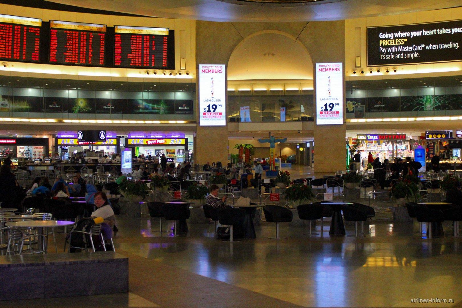 Кафе в чистой зоне аэропорта Тель-Авив Бен Гурион