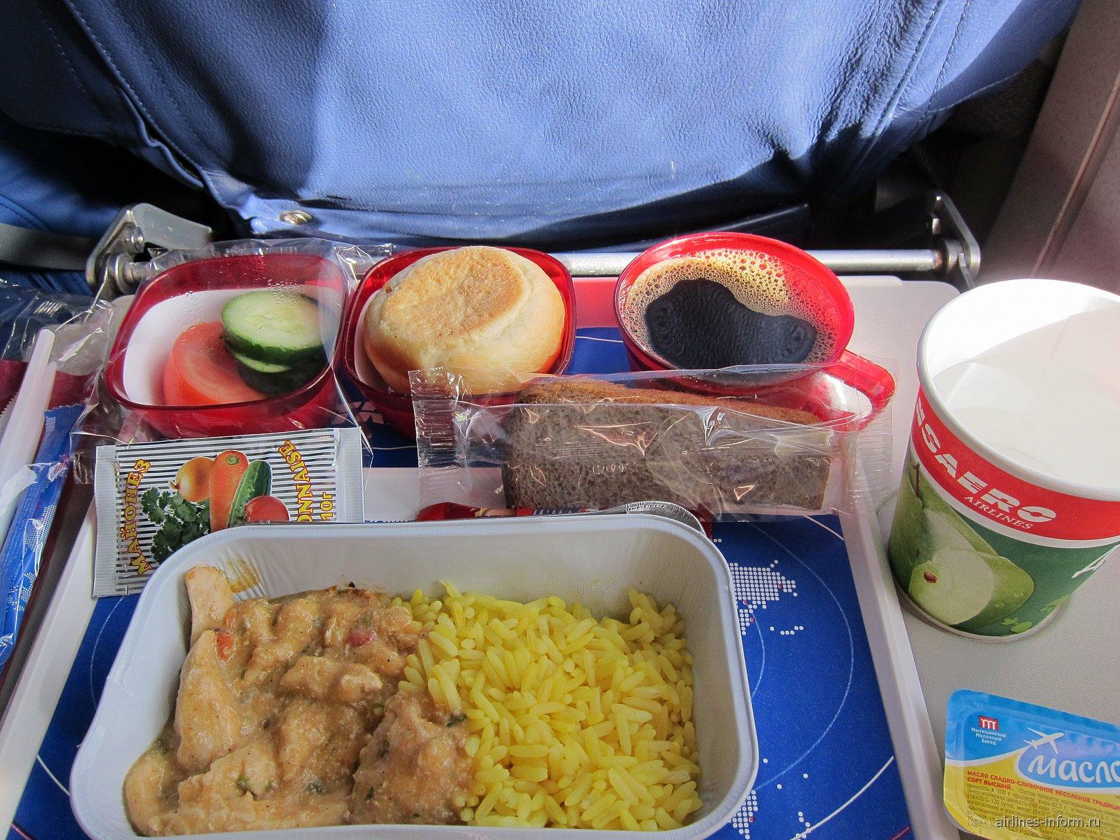 Питание на рейсе Трансаэро Лион-Москва