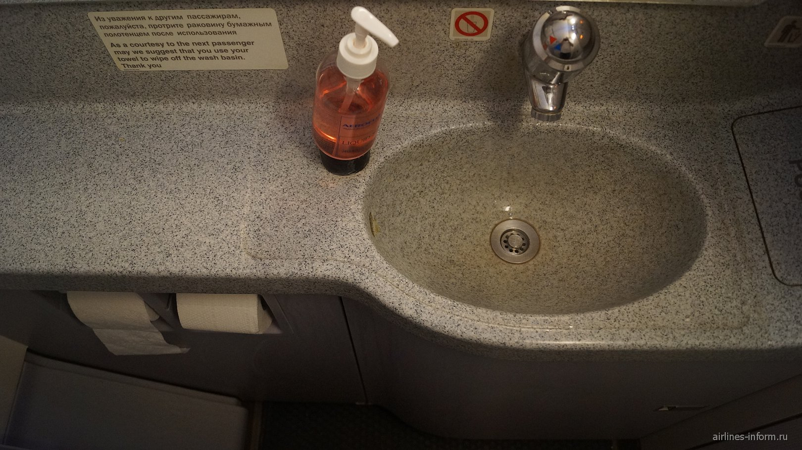 Туалет самолета Airbus A319 Аэрофлота