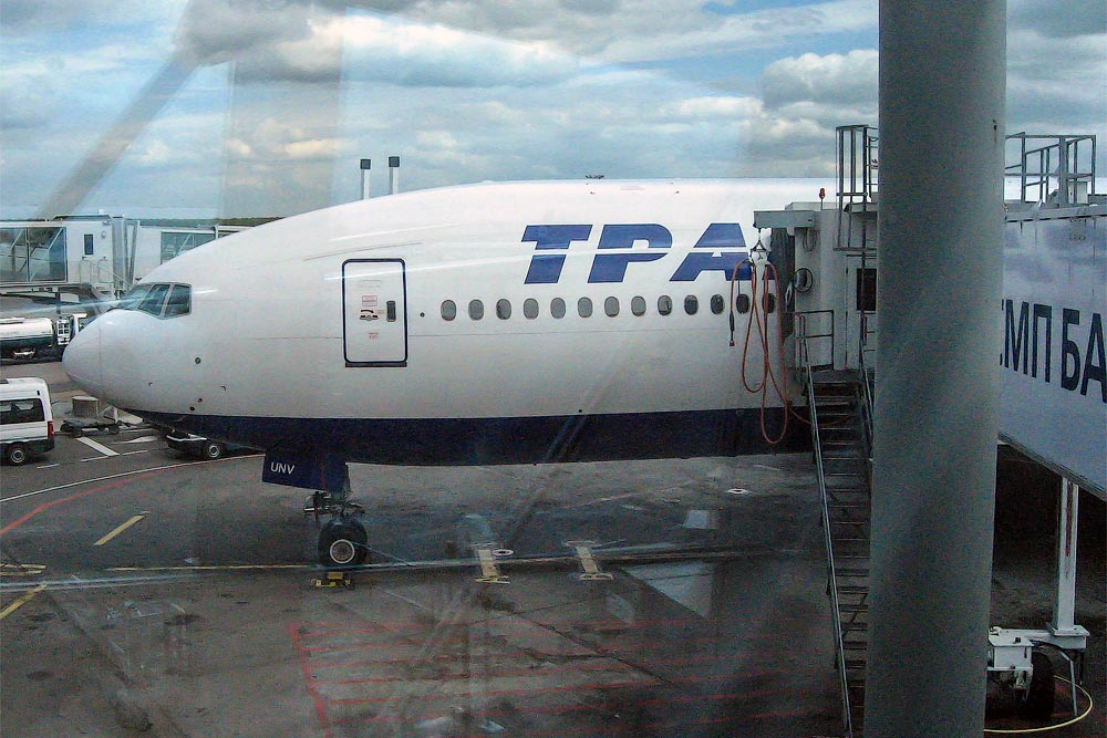 Transaero Boeing 777-200 in the Moscow Domodedovo Airport