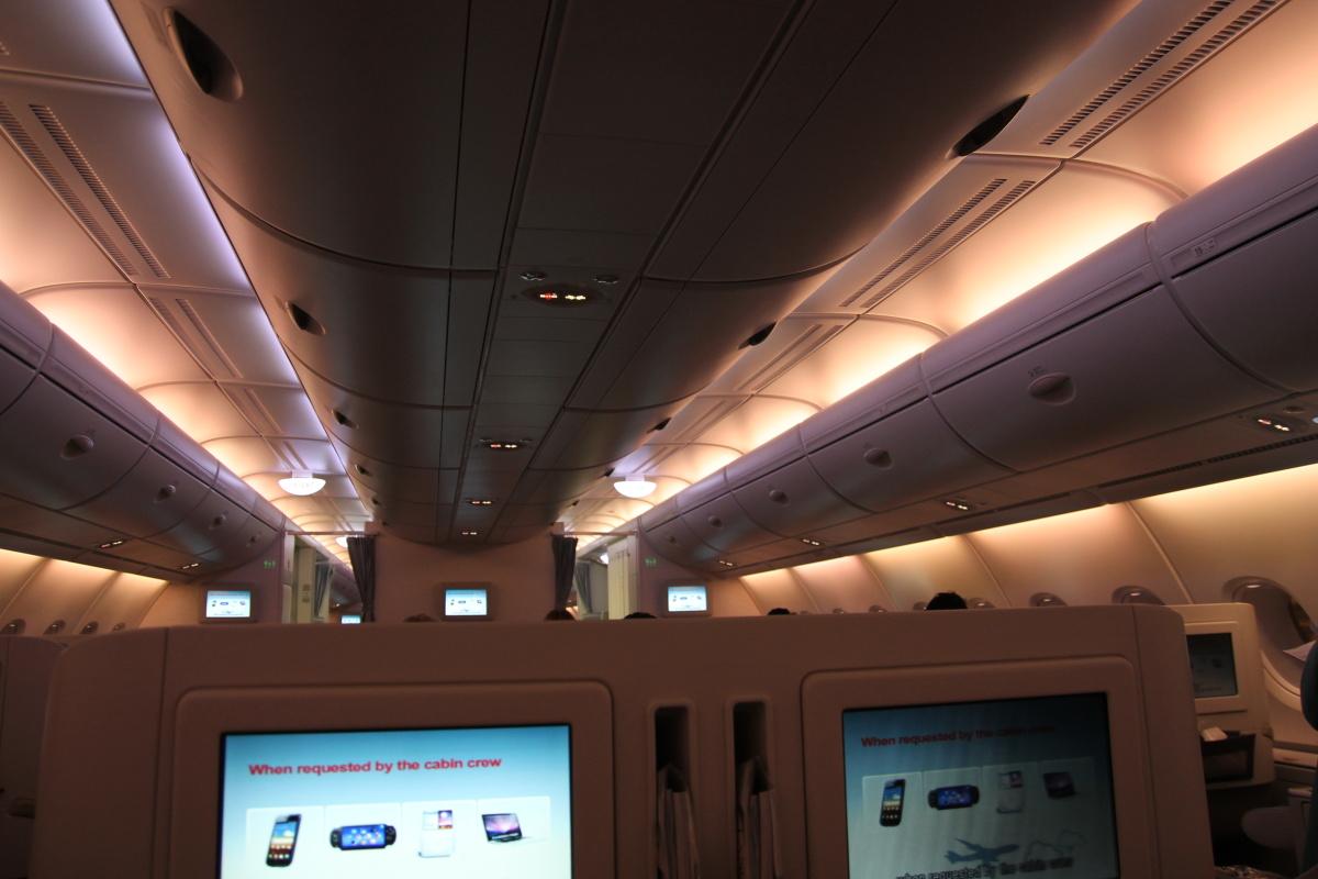 "Подсветка ""на взлет"" в салоне бизнес-класса самолета Airbus A380 Korean Air"