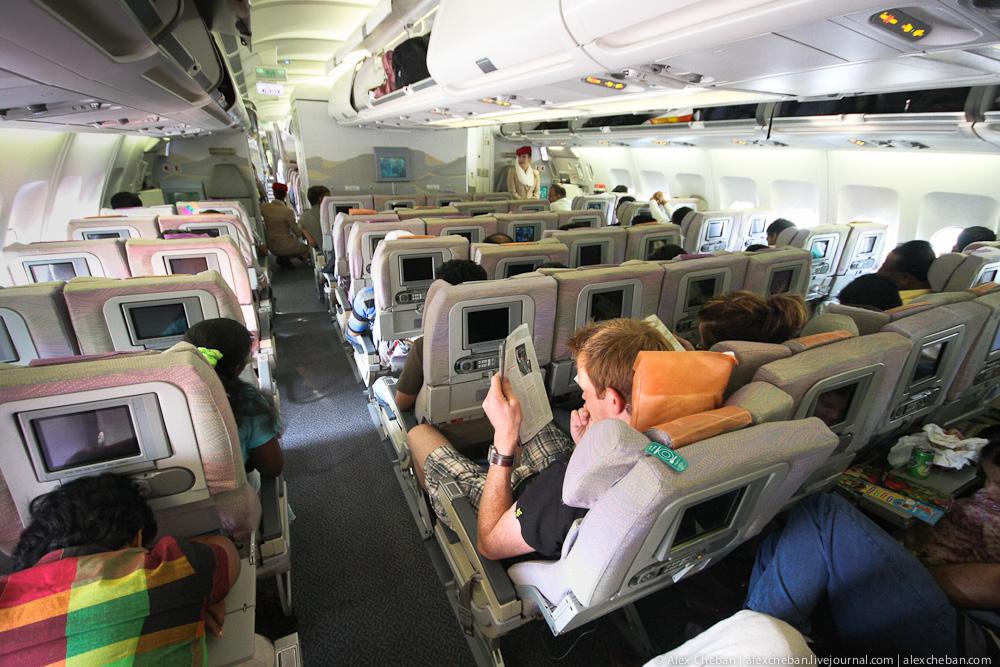 Салон самолета Airbus A330-200 авиакомпании Emirates