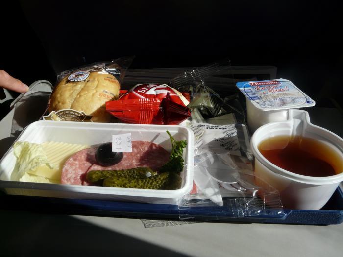 Питание на рейсе Гамбург-Петербург авиакомпании Россия