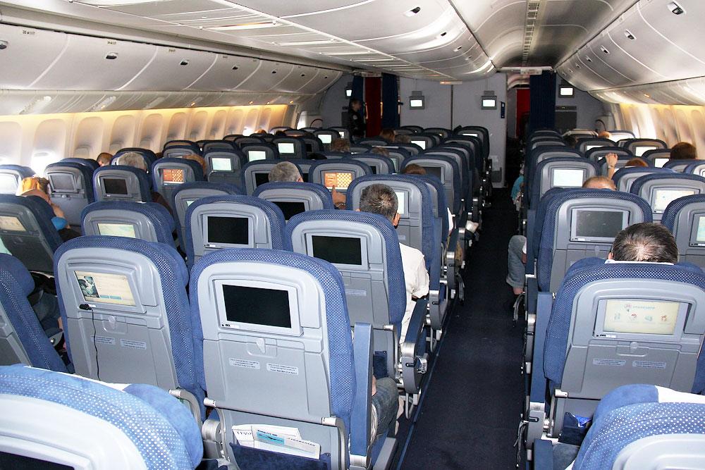 Tourist class seats in Transaero Boeing 777-300