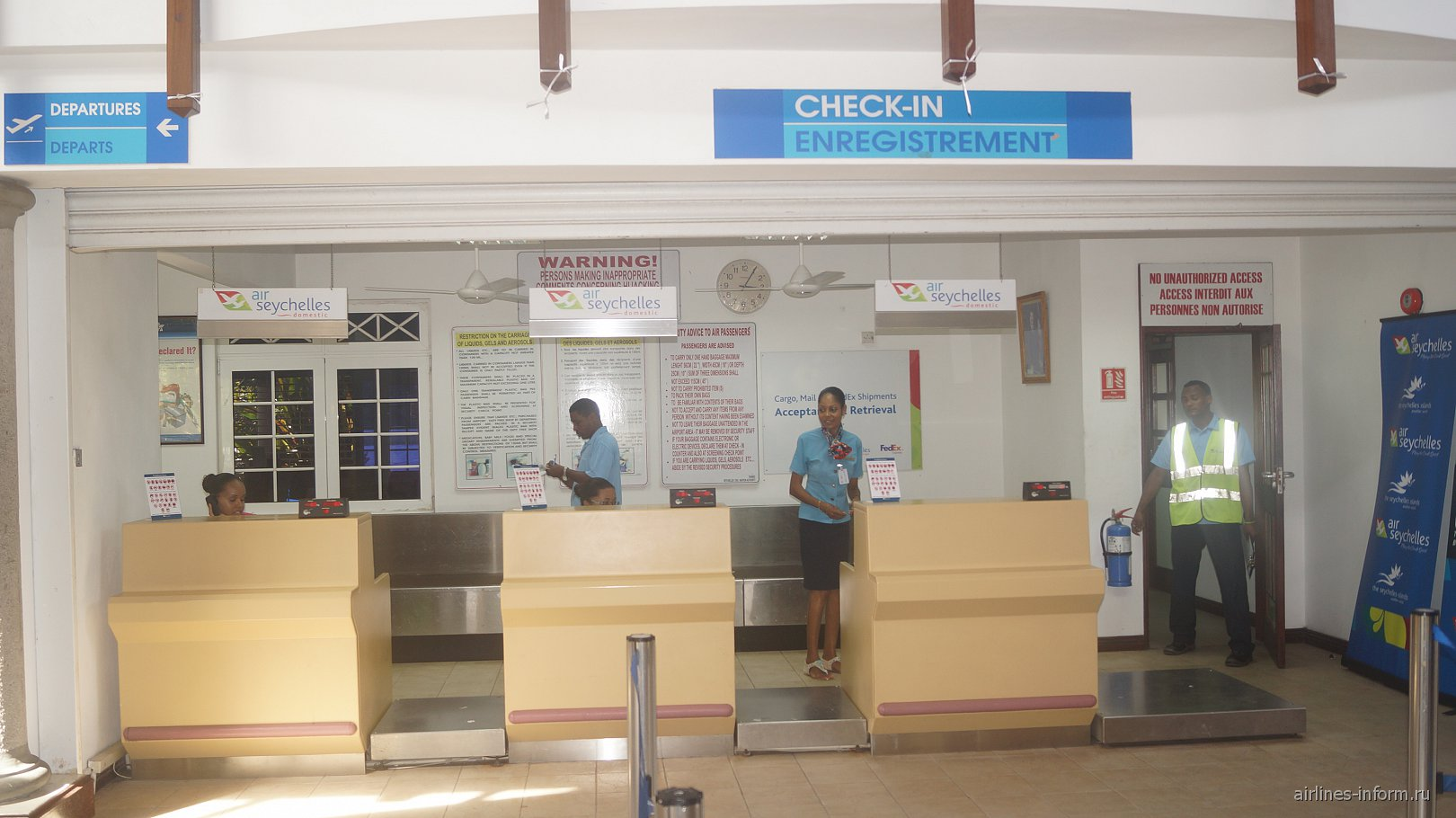 Стойки регистрации в аэропорту Праслен