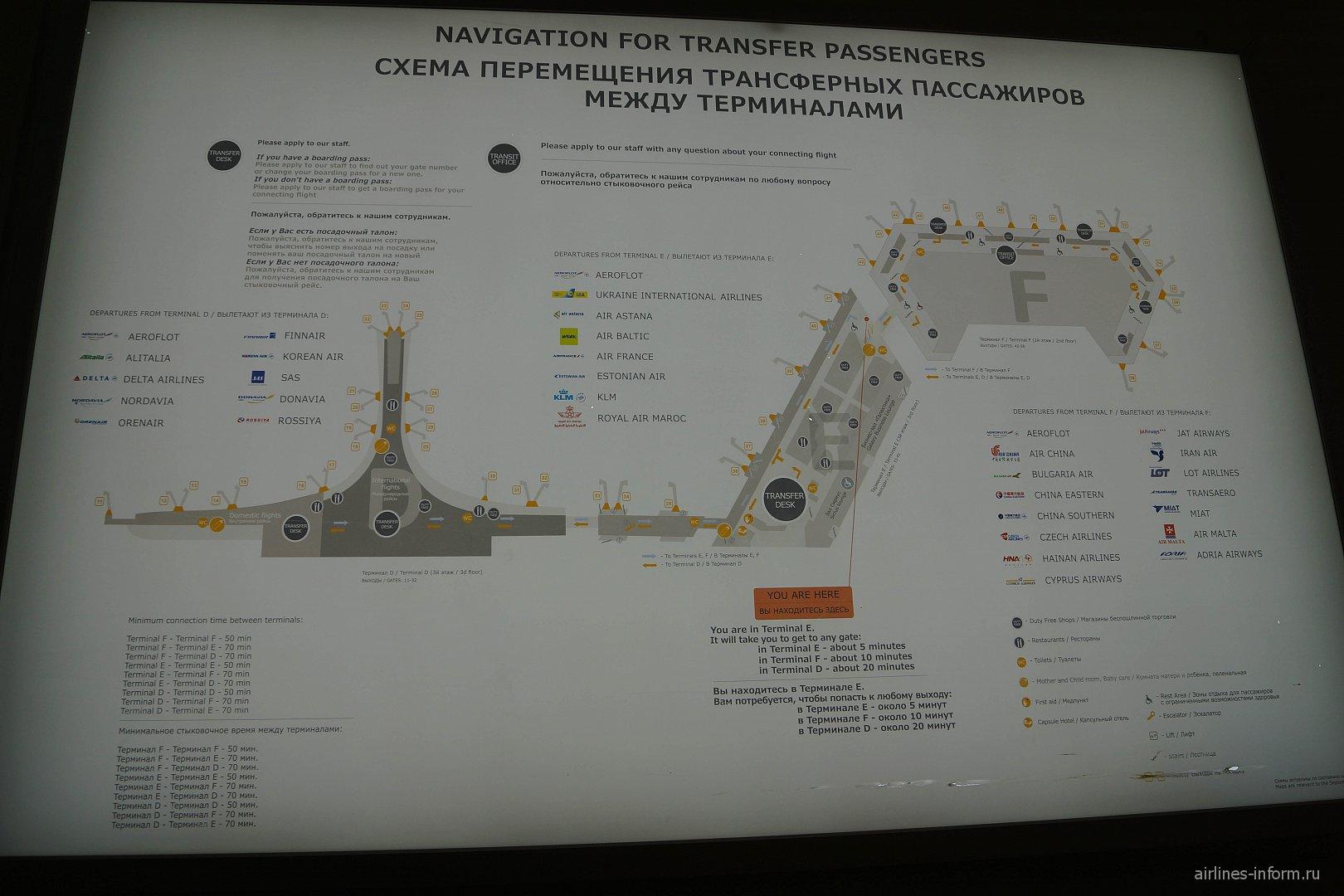 Схема терминалов аэропорта Москва Шереметьево