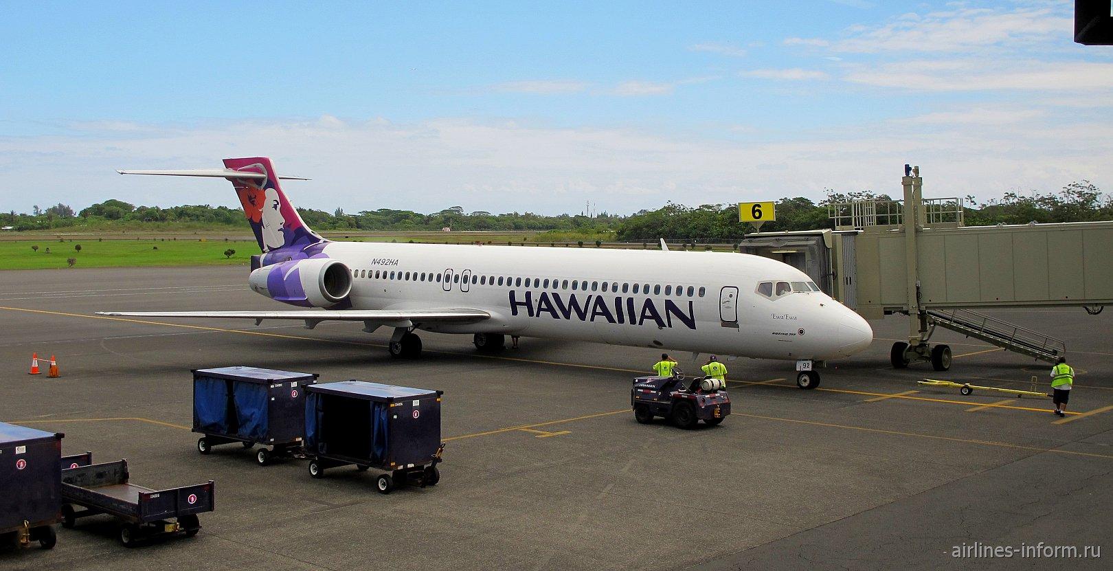 Боинг-717 N492HA Гавайских авиалиний в аэропорту Хило