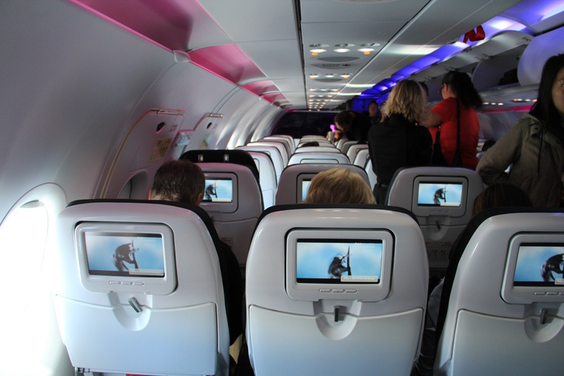 Economy class cabin of Airbus A320 of Virgin America