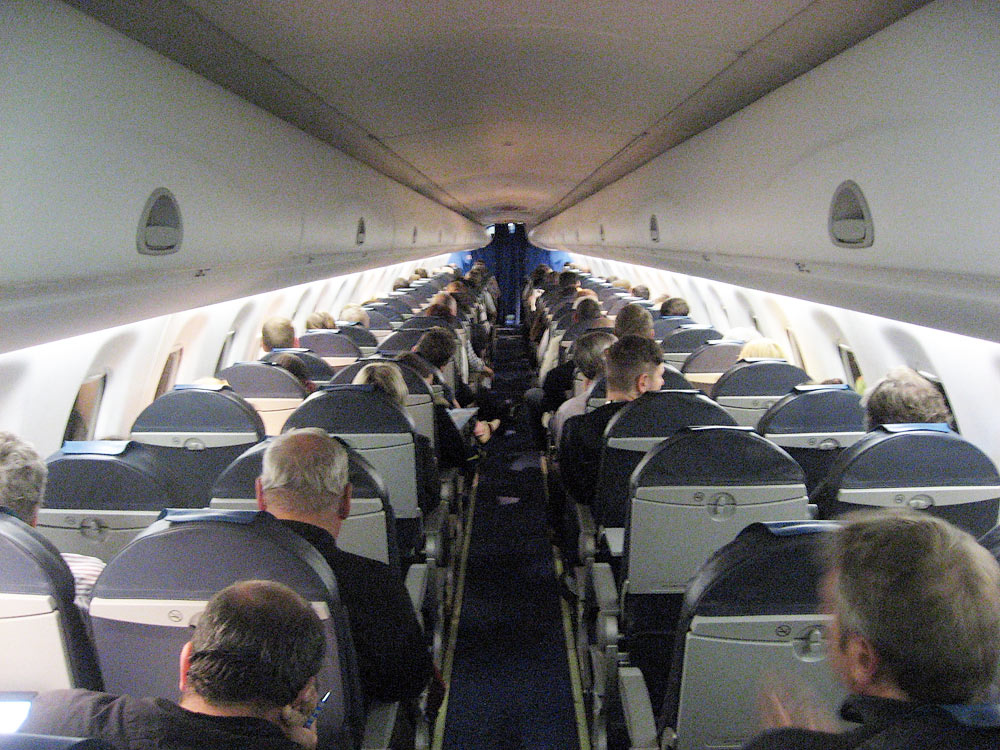 Passenger cabin of Embraer 190 of KLM cityhopper