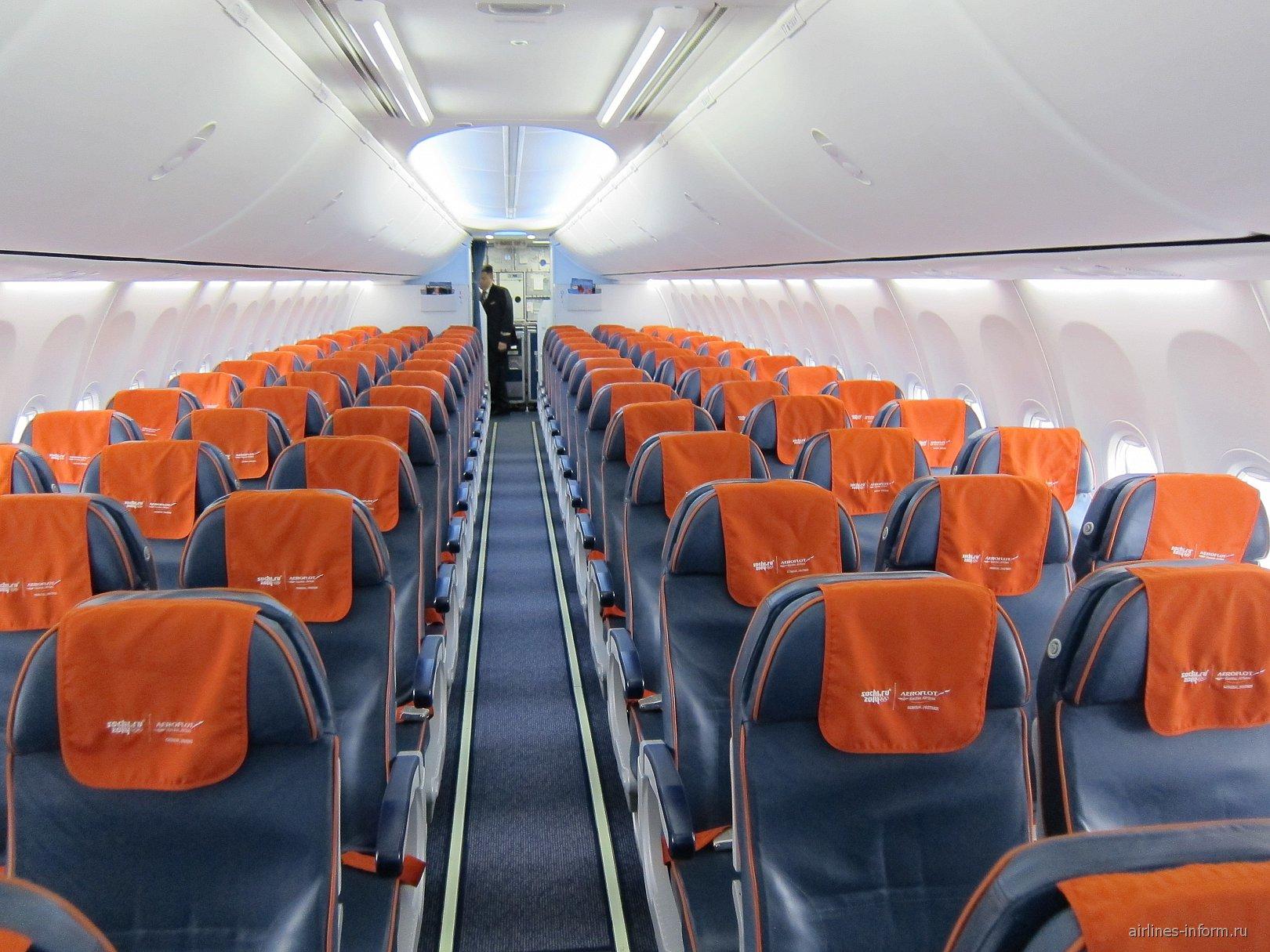 """Салон экономического класса в Боинге-737-800 авиакомпании """"Аэрофлот"""""""