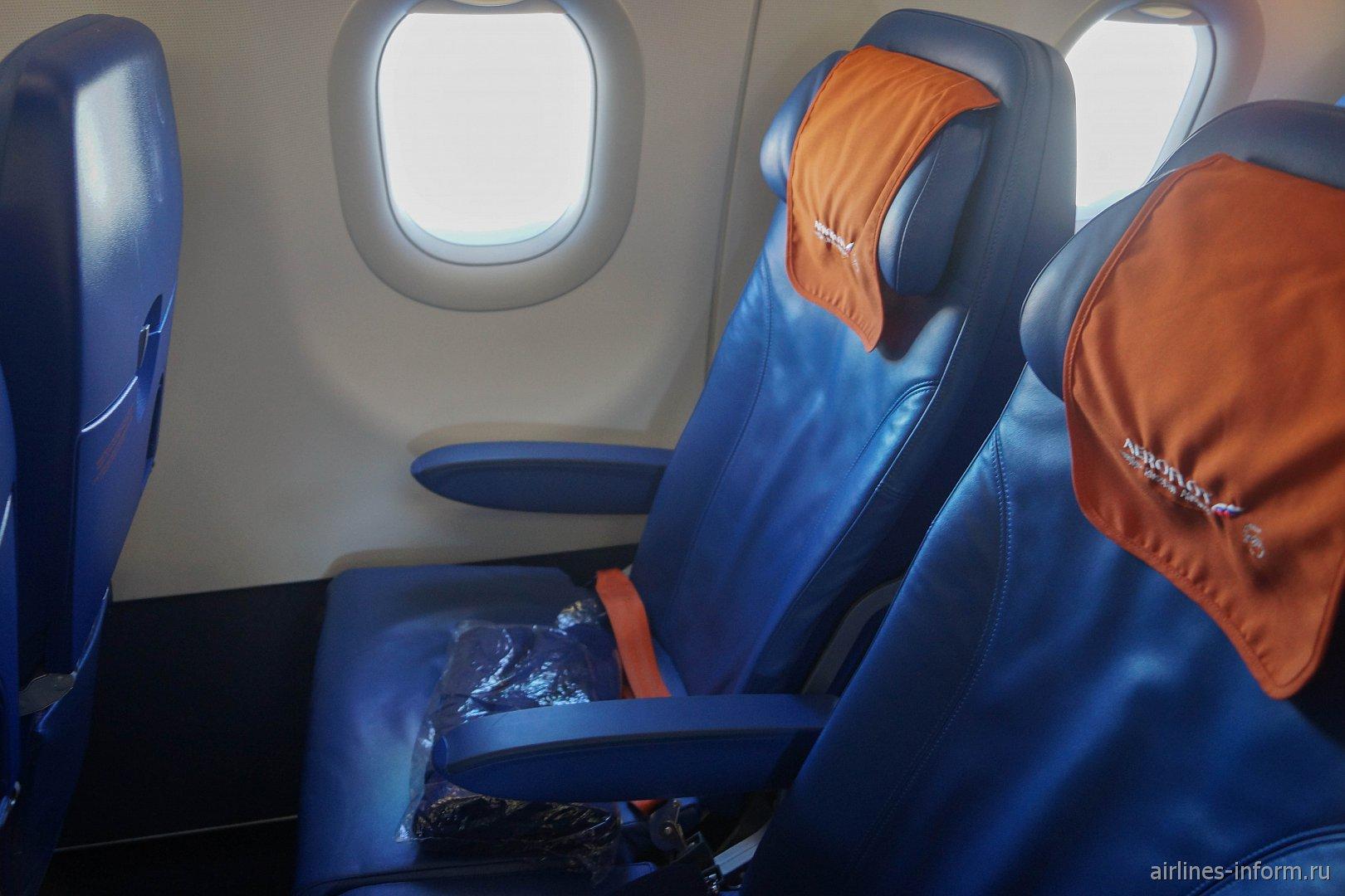 Пассажирские кресла эконом-класса в самолете Airbus A321 Аэрофлота