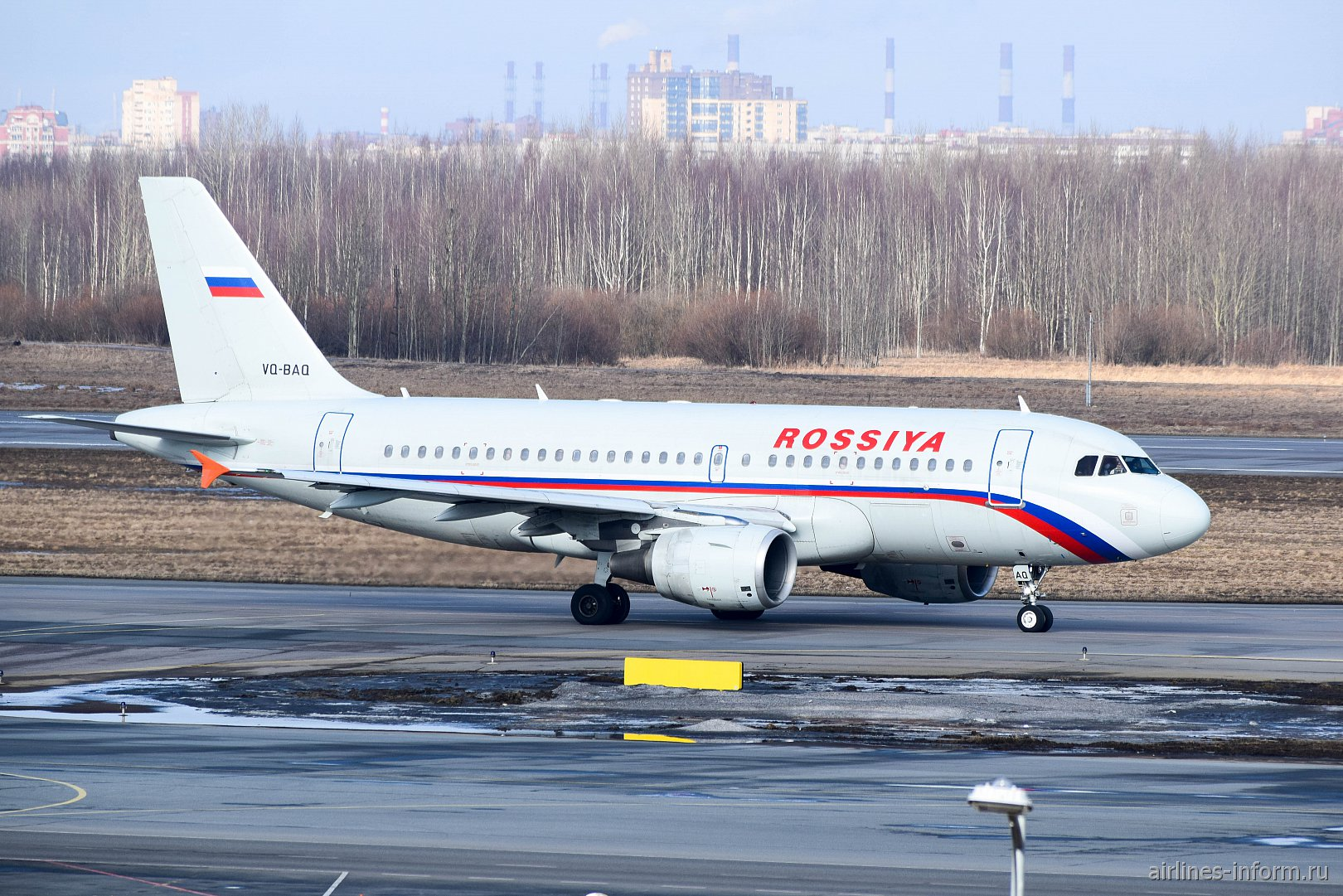 "Airbus A319 VQ-BAQ авиакомпании ""Россия"" в аэропорту Пулково"