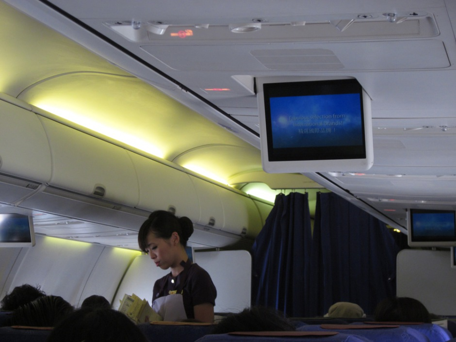Economy class cabin in Boeing 737-800 of Hong Kong Airlines