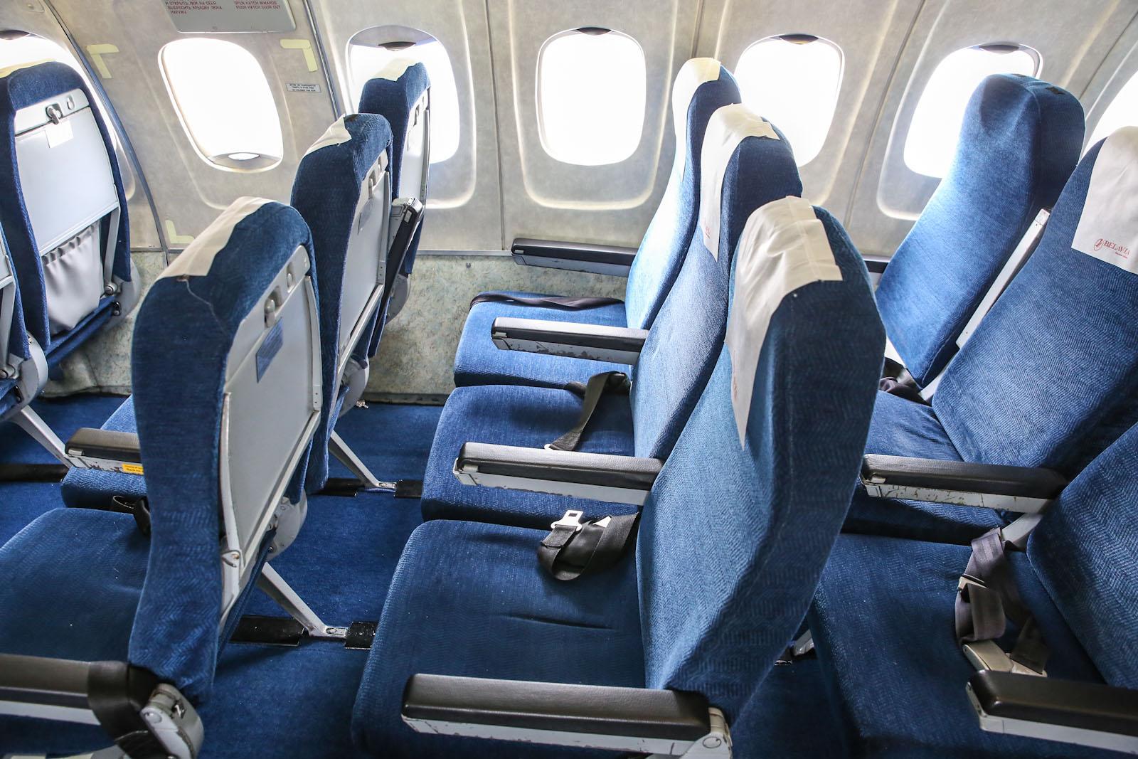 """Пассажирские кресла в самолете Ту-154М авиакомпании """"Белавиа"""""""