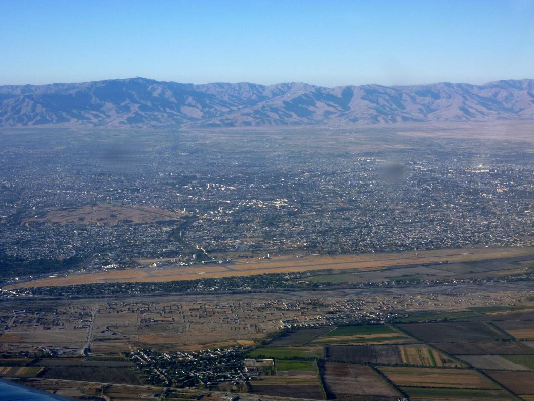 Flying over Uzbekistan