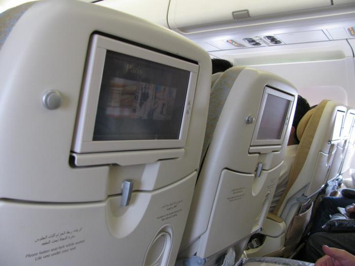 Все кресла оборудованы сенсорными экранами. Фильмы (некоторые на русском), музыка, карта полетов. В общем стандартный набор.