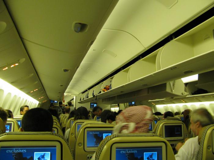 Passenger cabin of Boeing 777-300 Etihad Airways