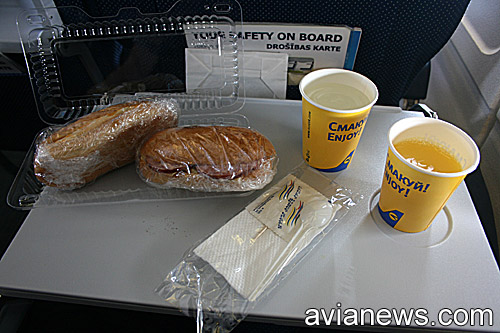 Meal on a flight Lviv-Kyiv