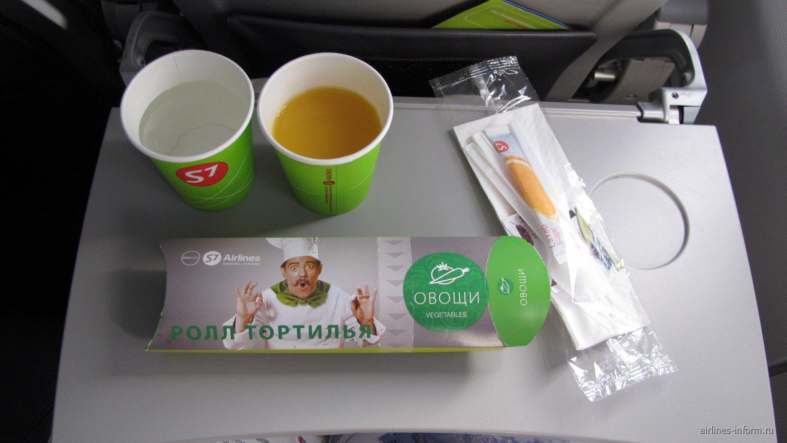 Бортпитание на рейсе S7 Airlines Владивосток-Токио