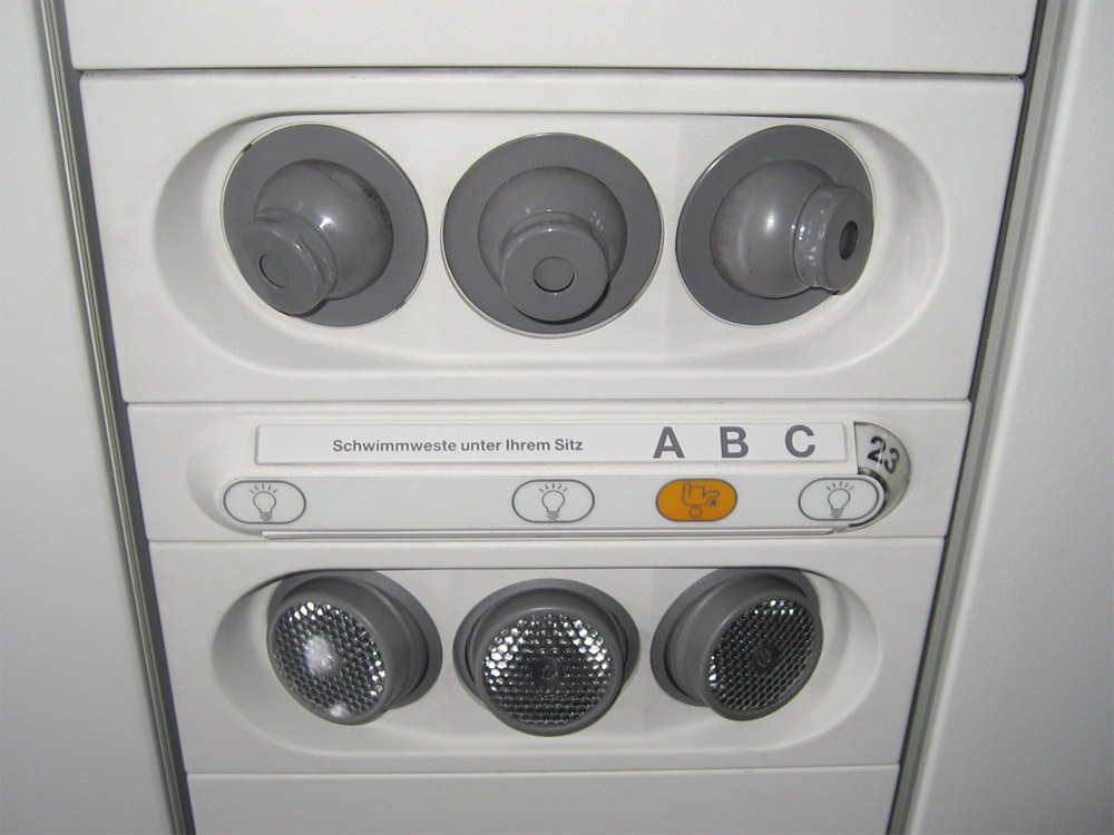 Passenger cabin of Airbus A319 of Germanwings