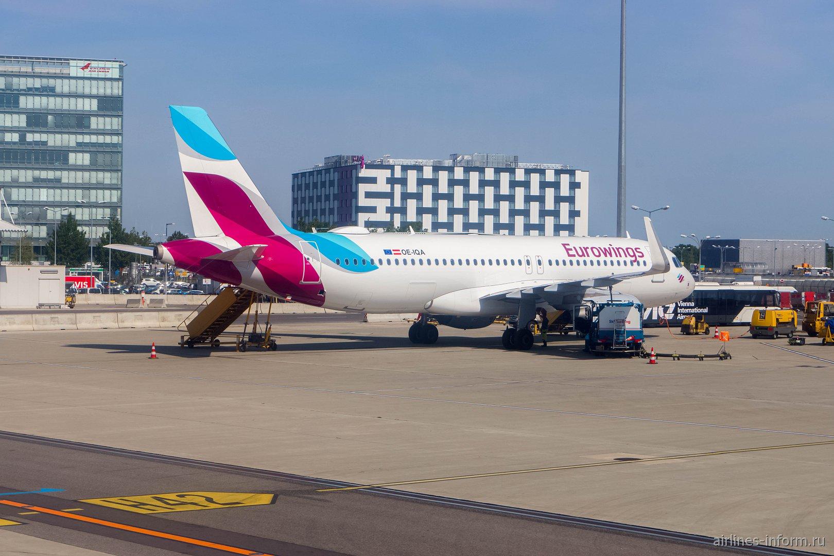 Airbus A320 OE-IQA авиакомпании Eurowings Europe в аэропорту Вены