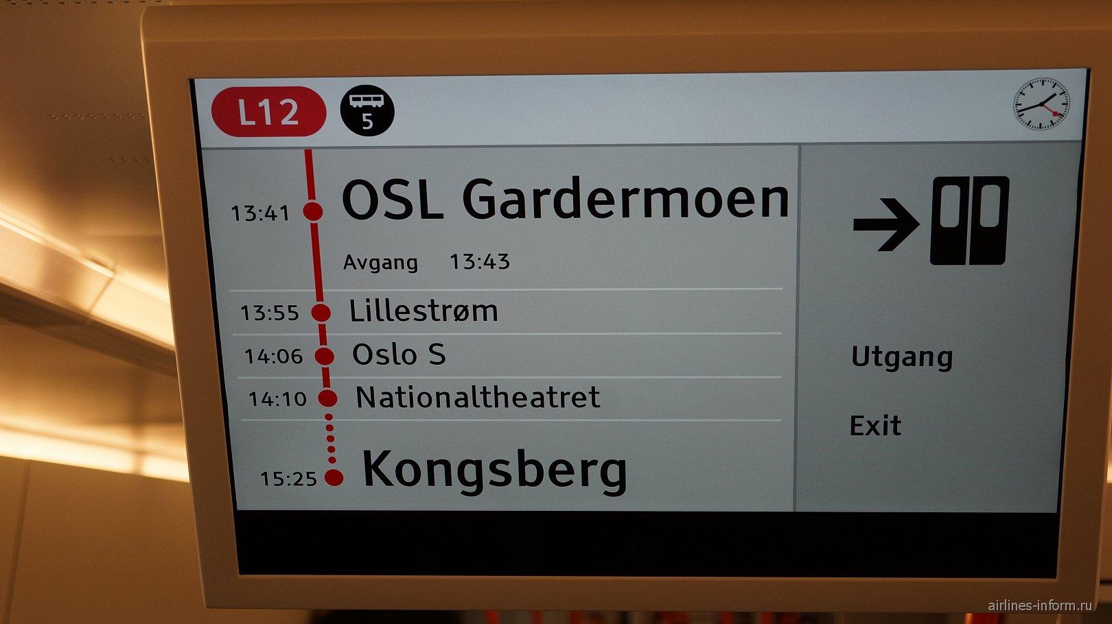 Аэроэкспресс из аэропорта в Осло