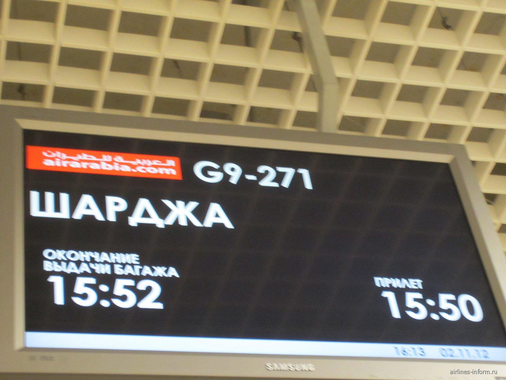 Рейс из Шарджи прибыл в Екатеринбург